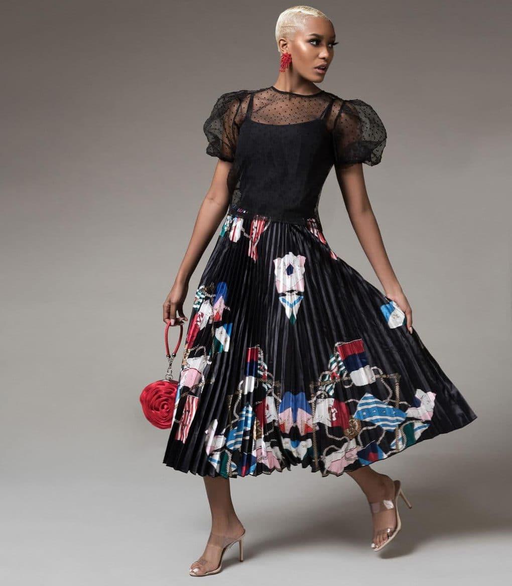 demsy-flag-print-pleated-skirt-black