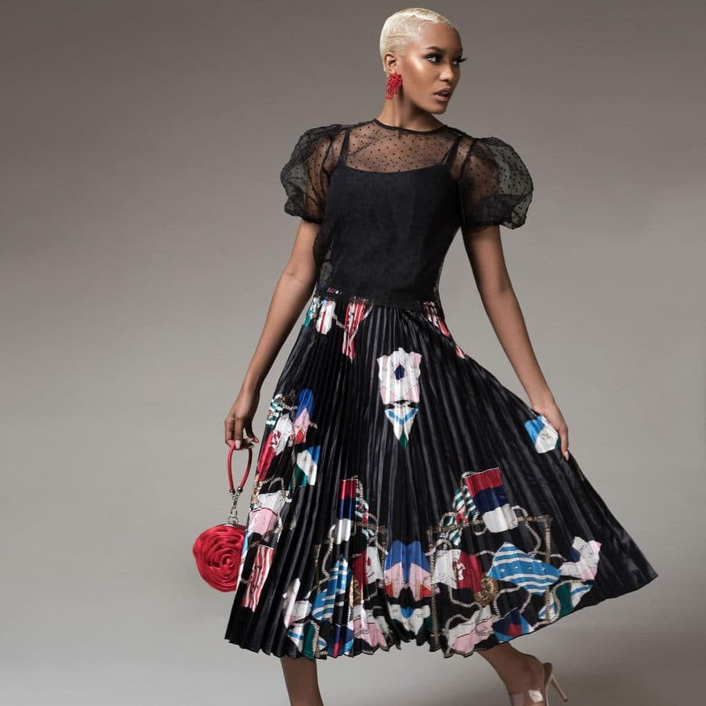 demsy-flag-print-pleated-skirt-black For Fall Winter Spring Summer