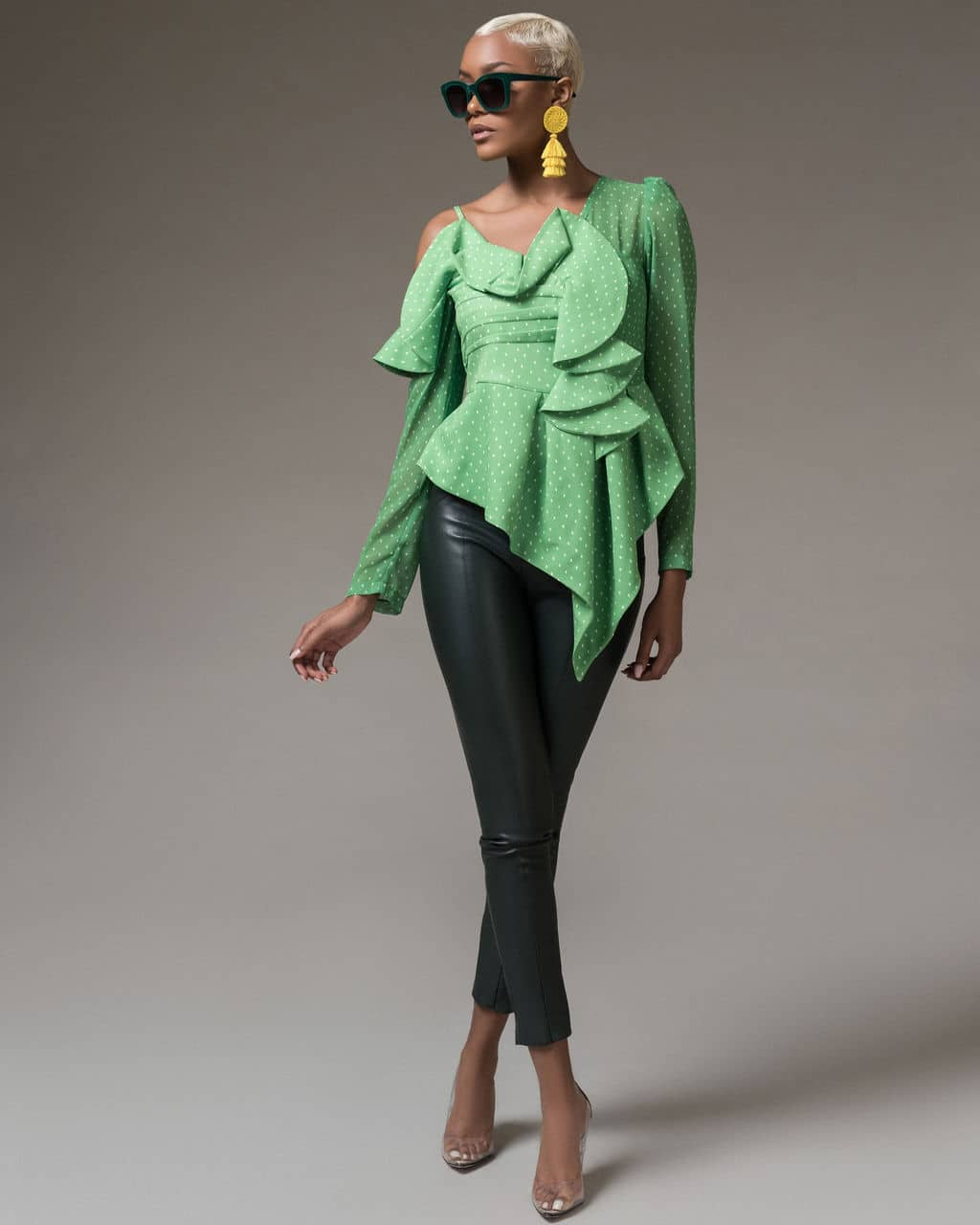 Green Dara Ruffle Top For Fall Winter Spring Summer