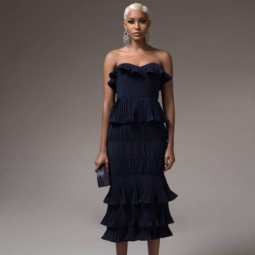 Navy Olivia Tube Dress For Fall Winter Spring Summer Wedding Cocktail Party Event