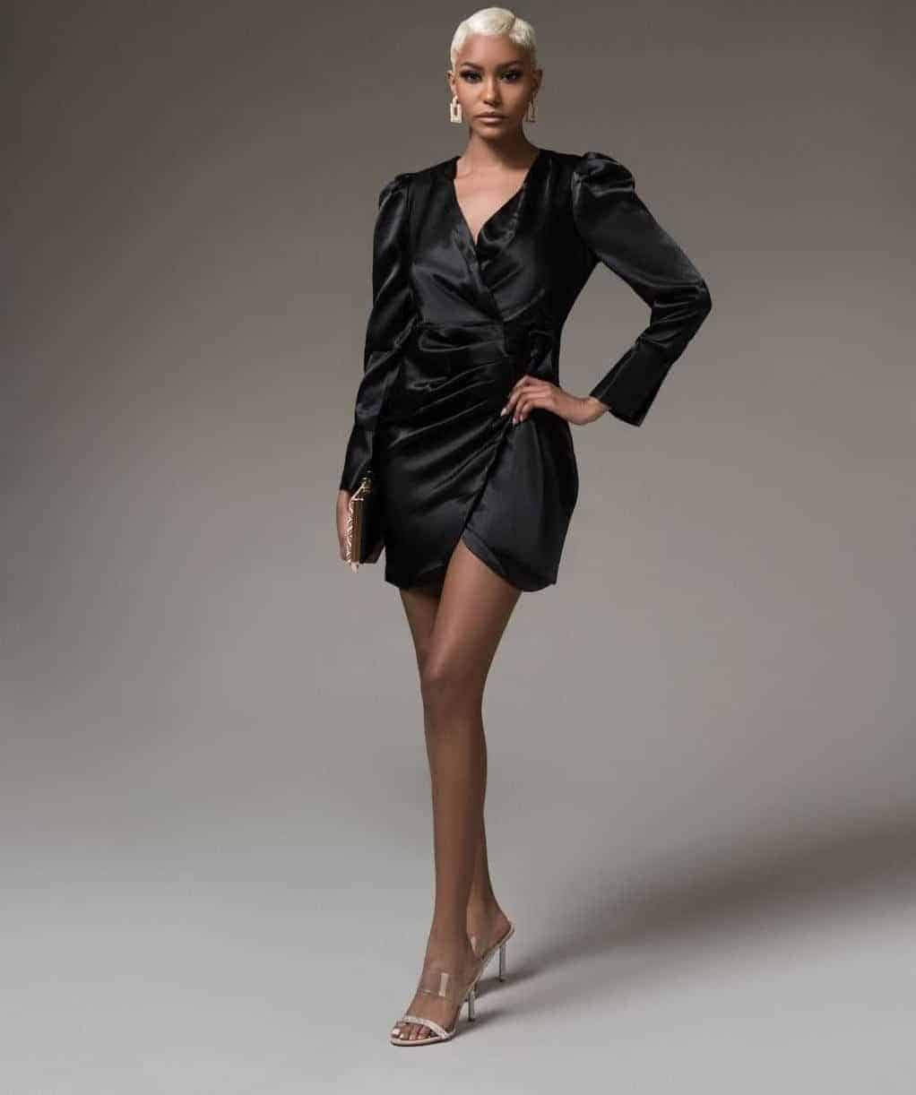 Kimmie Black Wrap Mini Dress For Fall Winter Spring Summer