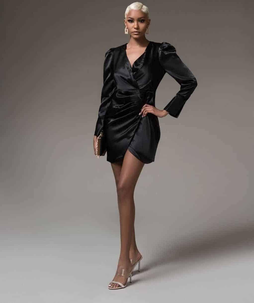 Kimmie Black Wrap Mini Dress