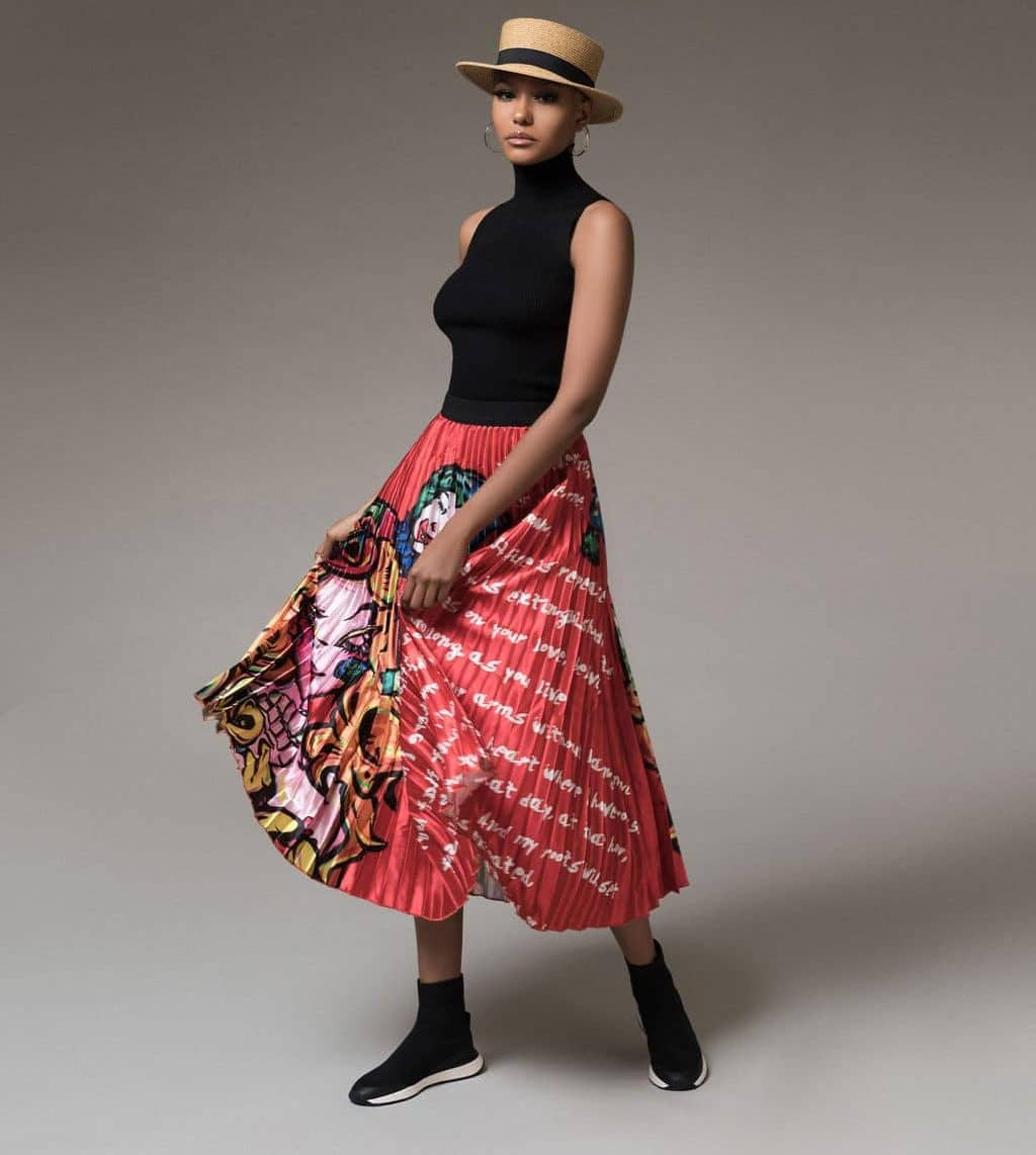 Red ChiChi Graphic Pleated Skirt For Fall Winter Spring Summer