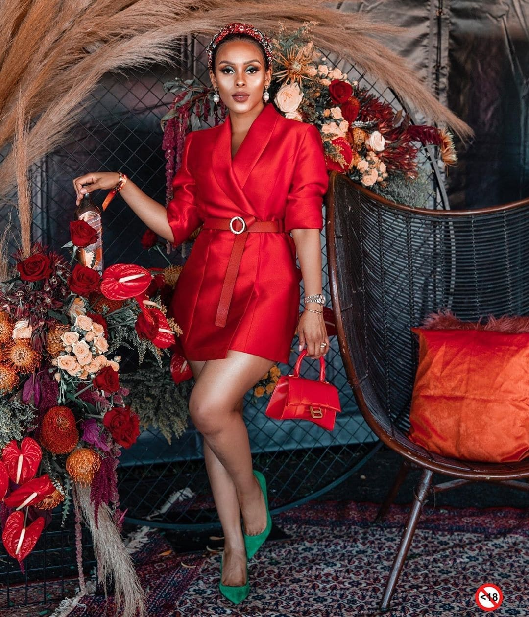 kefilwe-mabote-red-dress-green-shoes-christmas-combination