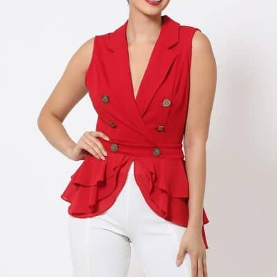 Kylie Double Breasted Layered Peplum Red Top