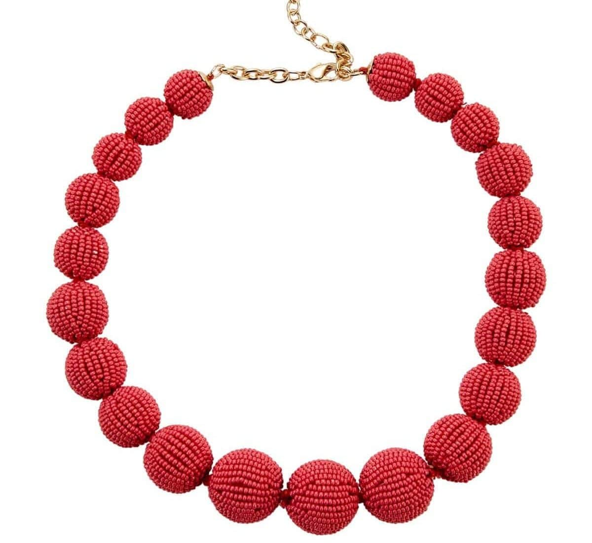 red beaded necklace For Fall Winter Spring Summer