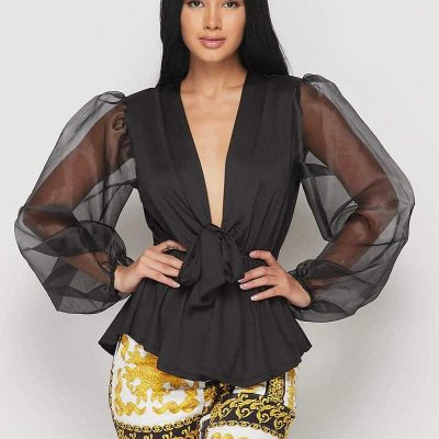 Tracy Bishop Sleeve Deep V Bow Tie Neck Blouse