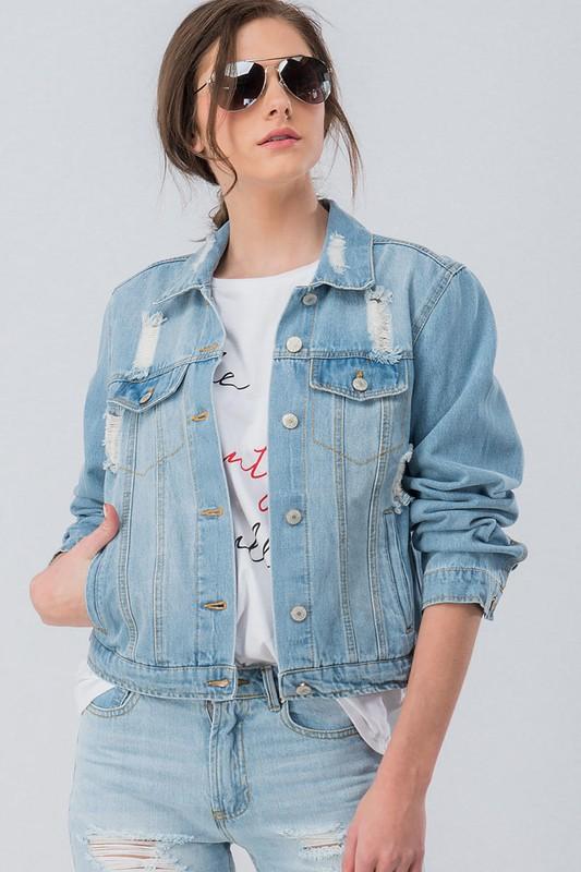 Meghan Distressed Denim Collared Jacket