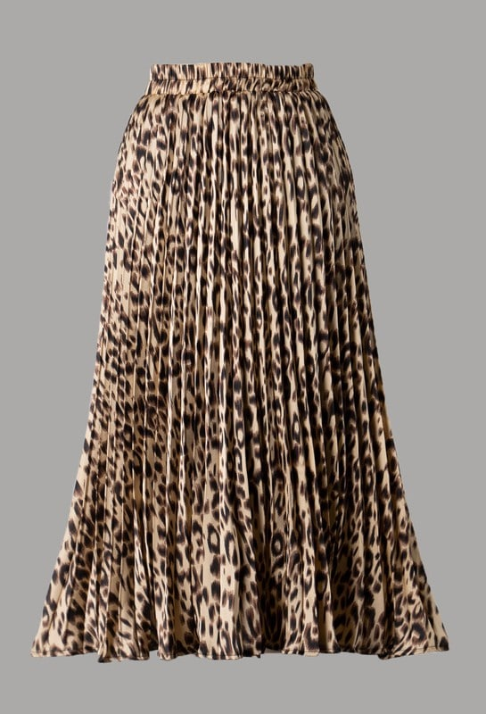 Sade Animal Print Pleated Woven Midi Skirt For Fall Winter Spring Summer