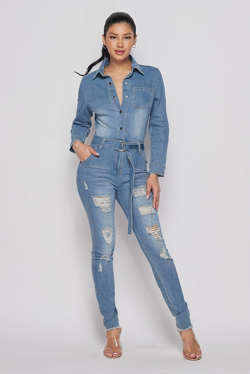 Blue Daisy Ripped Denim Jumpsuit For Fall Winter Spring Summer