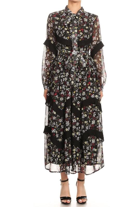 Black Leslie Floral Print Chiffon Maxi Dress For Fall Winter Spring Summer