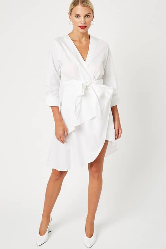Alice Asymmetrical V Neck Tie-Front Mini Dress