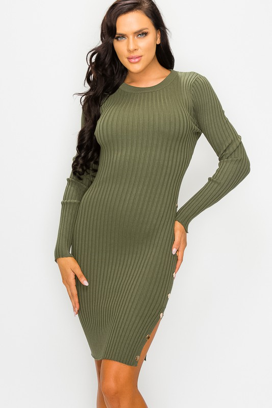 Model wearing alternately olive or plum colored rib knit side buttoned dress in various poses.