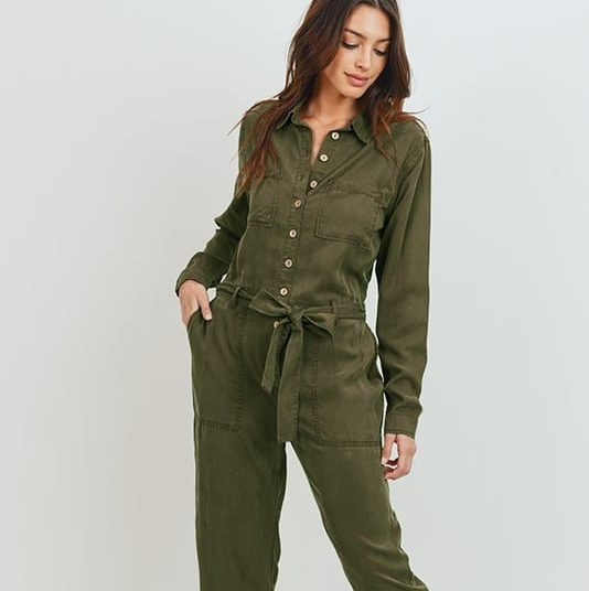 Olive Keira Buttoned Long Sleeve Tencel Jumpsuit