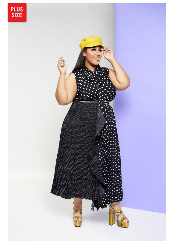 Jolie Pleated Dual Sized Polka Dot Ruffle Skirt For Fall Winter Spring Summer