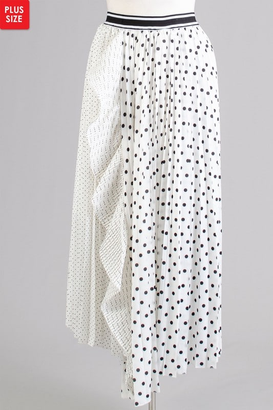 White Jolie Pleated Dual Sized Polka Dot Ruffle Skirt