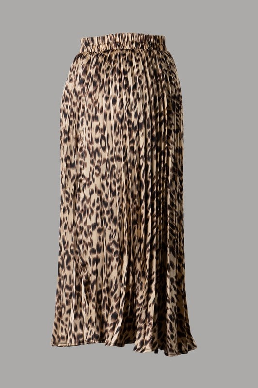 Sade Animal Print Pleated Woven Midi Skirt