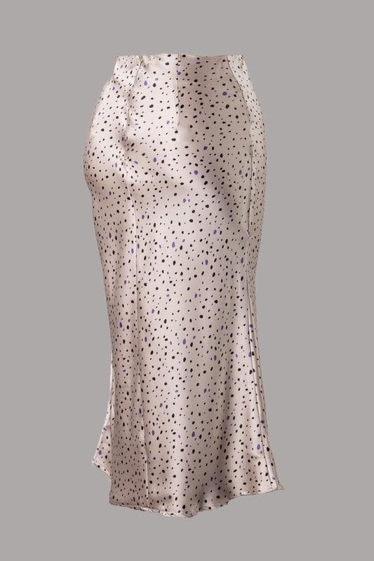 Timi Leopard Print Satin Midi Length Woven Skirt