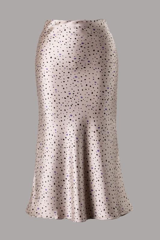 Champagne Black Timi Leopard Print Satin Midi Length Woven Skirt For Fall Winter Spring Summer