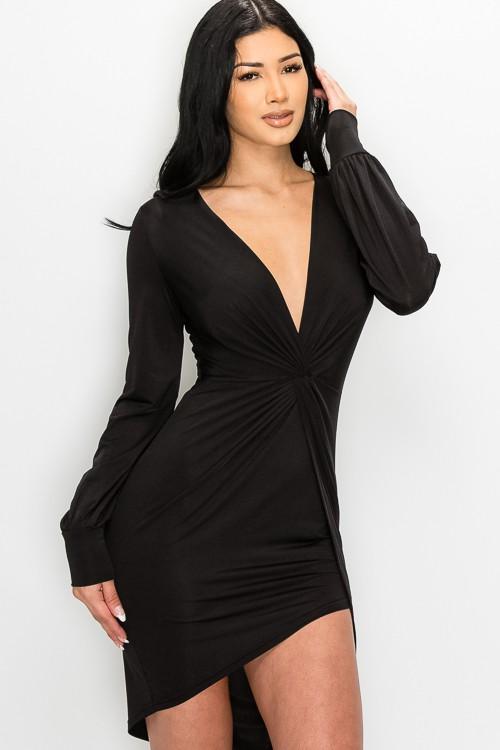 Black Camilla Front Twist Knot Asymmetrical Dress