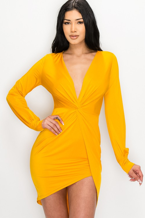 Mustard Yellow Camilla Front Twist Knot Asymmetrical Dress For Fall Winter Spring Summer
