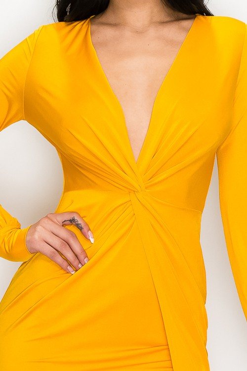 Mustard Camilla Front Twist Knot Asymmetrical Dress