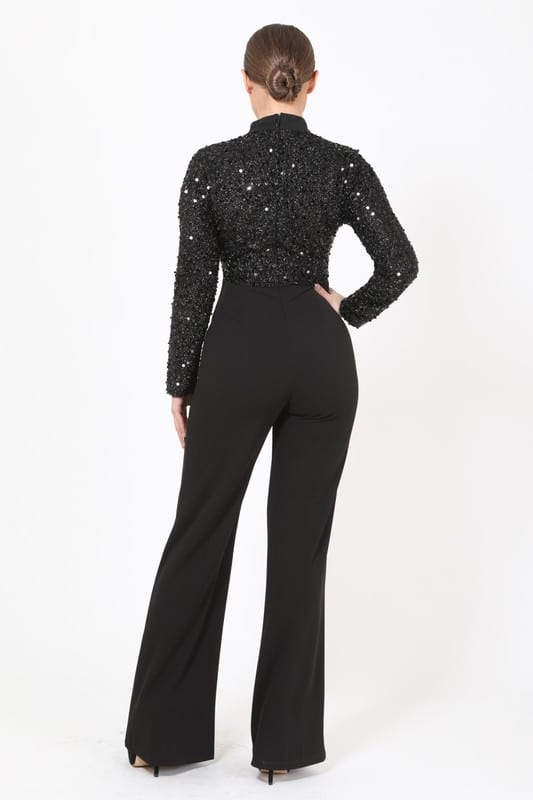 Sarah Sequins Long Sleeve Flared Legged Jumpsuit