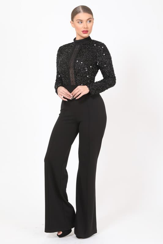 Black Sequin Jacksuit Long Sleeve Flared Legged Jumpsuit
