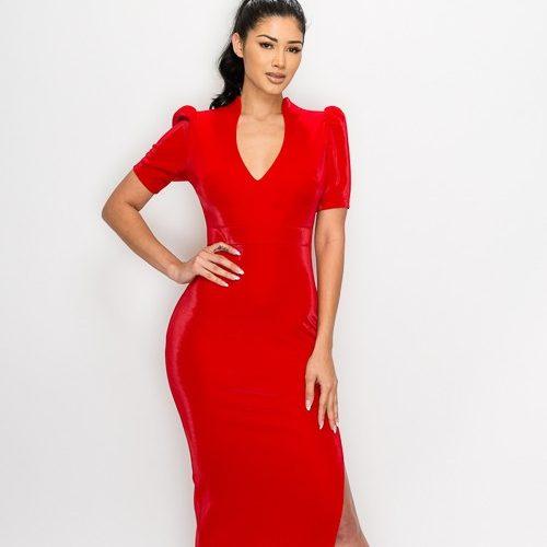 Black Fay Velvet Puff Shoulder Side Slit Maxi Dress