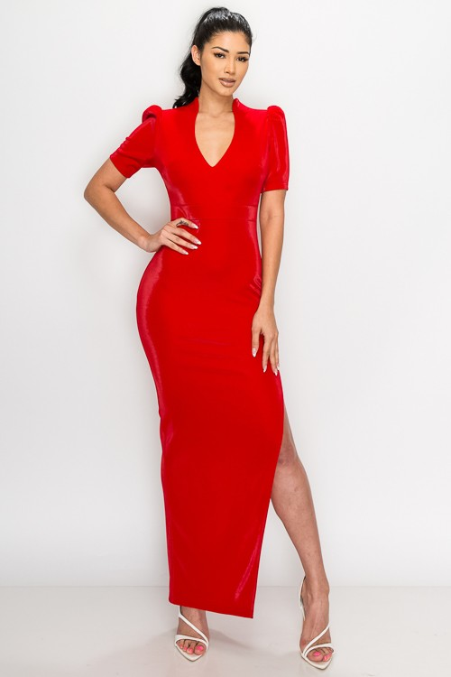 Red Fay Velvet Puff Shoulder Side Slit Maxi Dress