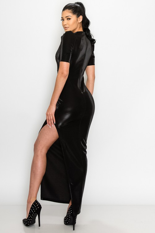 Black Fay Velvet Puff Shoulder Side Slit Maxi Dress