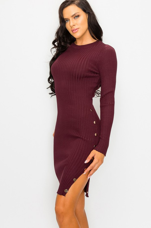 Plum Edith Rib Knit Buttoned Side Dress With Longsleeves
