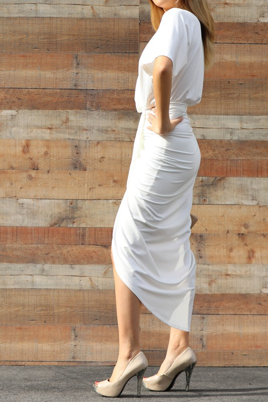Ivory Lala Venetian Ruched Bodycon Dress