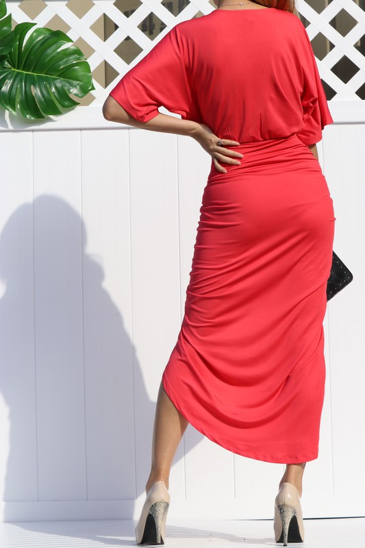 Rose Lala Venetian Ruched Bodycon Dress