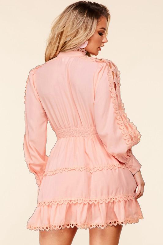 Sarafina Mockneck Mini Dress With Crochet Details
