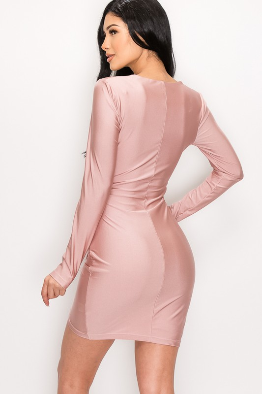 Pink Rose Abby Sweetheart Neck Wrap Bodycon Longsleeve Dress