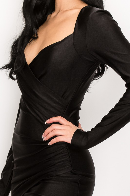 Black Abby Sweetheart Neck Wrap Bodycon Longsleeve Dress