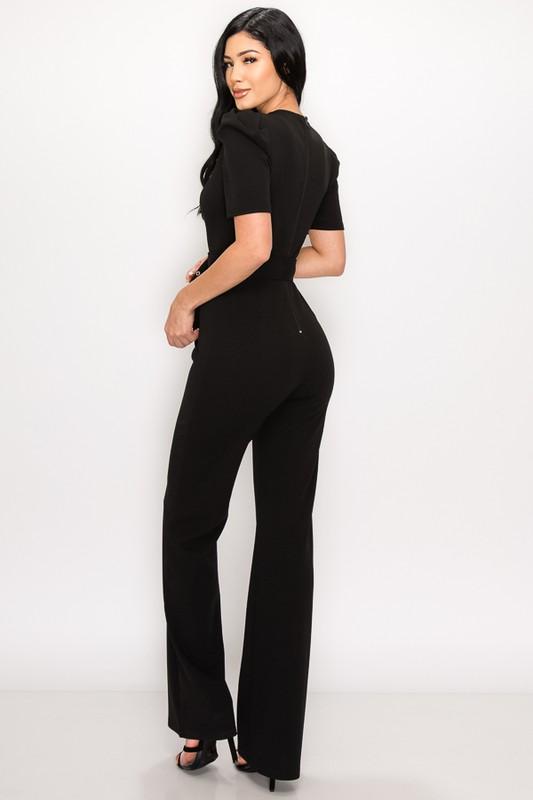 Black Millie Belted Deep V Neck Jumpsuit