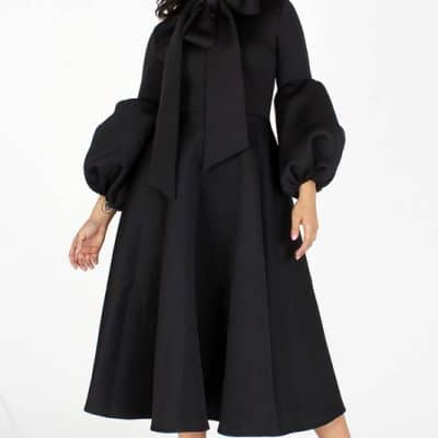 Adaku Puff Sleeves Midi Dress With Pockets