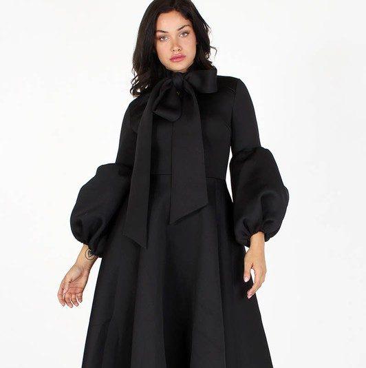 Black Adaku Puff Sleeves Midi Dress With Pockets For Fall Winter Spring Summer