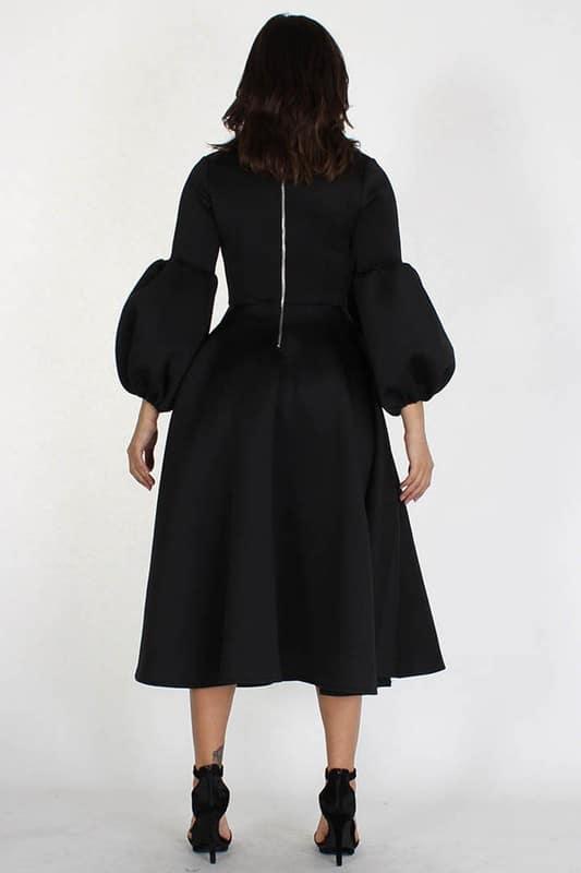 Adaku Puff Sleeves Midi Dress With Pockets