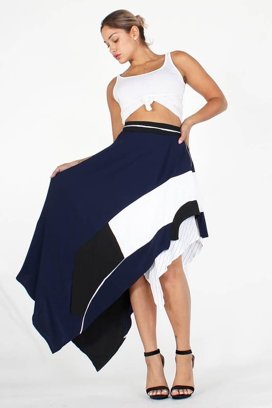 Tania Asymmetric Double Layered Skirt With Zipper