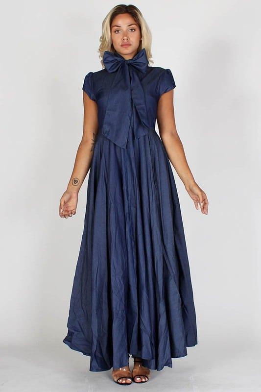 Janet Denim A-line Dress With Mock Neck