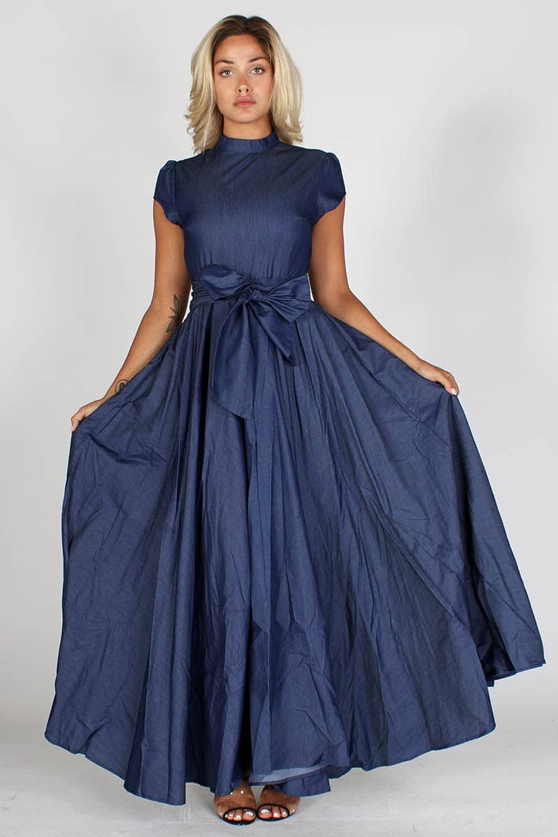Blue Janet Denim A-line Dress With Mock Neck For Fall Winter Spring Summer