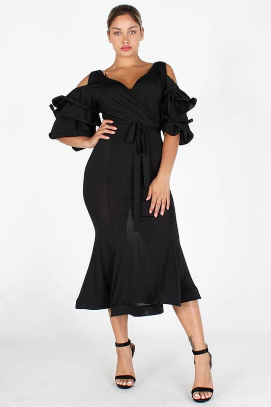 Nengi V Neck Tiered Sleeves Midi Dress