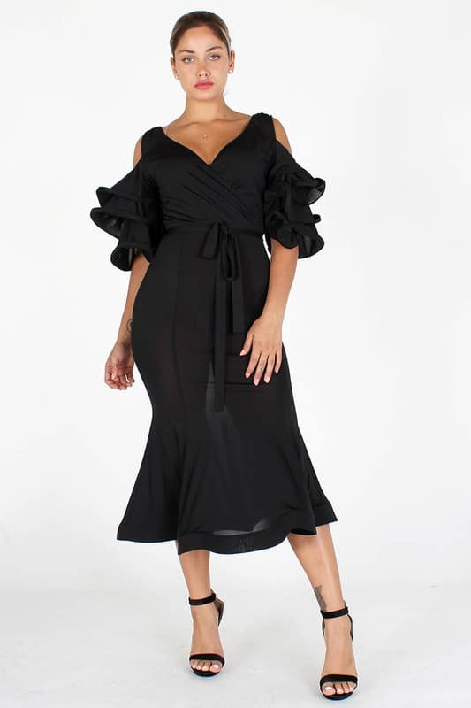 Black Nengi V Neck Tiered Sleeves Midi Dress For Fall Winter Spring Summer