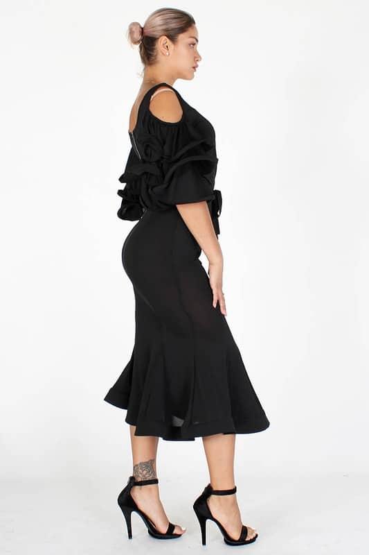 Nengi V Neck Tiered Sleeves Midi Dress
