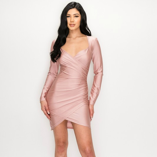 Blush Pink Abby Sweetheart Neck Wrap Bodycon Longsleeve Dress For Fall Winter Spring Summer
