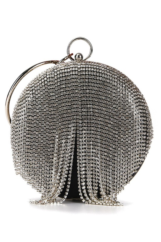 Black Jessie Round Rhinestone Tassel Evening Clutch Bag