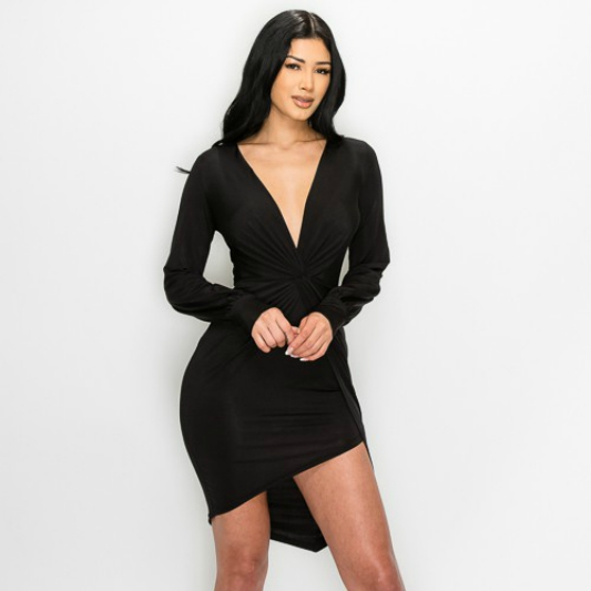 Black Camilla Front Twist Knot Asymmetrical Dress For Fall Winter Spring Summer